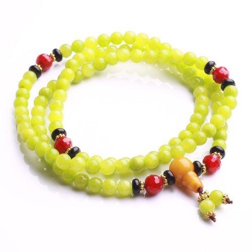 Qiyun 6mm Vert Jade priere Mala perle de chapelet de meditation bouddhiste Collier Bracelet