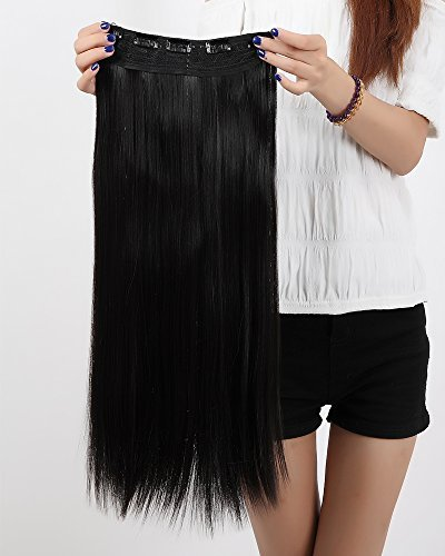 "S Noilite Salon 26"" Straight Natural Black One Piece 5 Clips Clip In Hair Extensions Fashion Design For American Lady Women 5 A Synthetic Long Harmless"