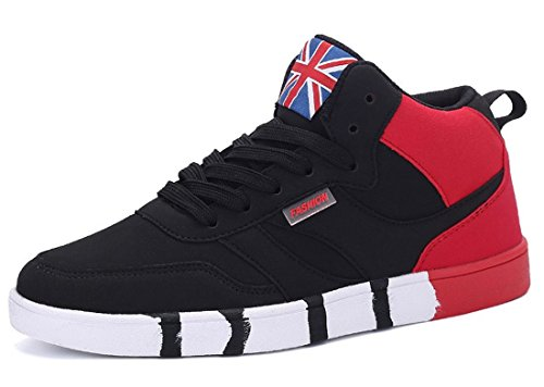 Men's High Top Breathable Outdoor Athletic Skateboarding Shoes Black Red