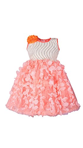 My Lil Princess Baby Girls Birthday Party wear Frock Dress_Orange Butterfly_0-1 Years