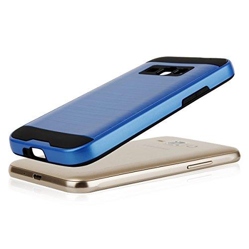 EGO® Hard Case Schutz Hülle für Samsung J120 Galaxy J1 2016, Blau Metallic Effect Brushed Handy Cover Schale Bumper Etui Top-Qualität Blau