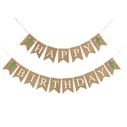 Amosfun Alles Gute zum Geburtstag Sackleinen Bunting Banner Leinen Swallowtail Pull Flaggen Kaktus Druck Flagge für Geburtstag Baby Shower Party Favors
