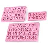 WDYJMALL 3 Stück Alphabet Zahlen Buchstaben Form Silikon Schokolade Fondant Keks Kuchen Dekorieren Backform – Alphabet Zahl 3 Stück