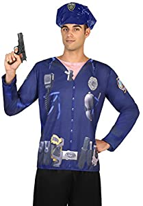 Atosa- Camiseta 3D Hombre policía,, M-L (29759)