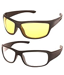 Shara UV Protected Wrap Night vision unisex sunglasses set of 2 combo -(SHA/SUNGLASSES/NV|60|white & yellow lens)
