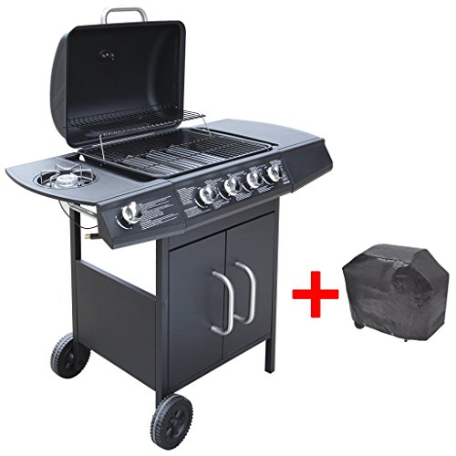 vidaXL Gas Barbecue Grill BBQ 4+1 Burners w/ Cover Black Outdoor Garden Patio Portable