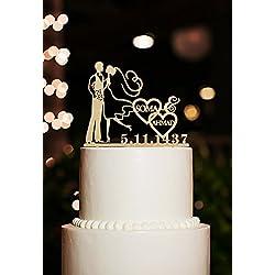 Figura para tarta personalizada con nombres y fecha