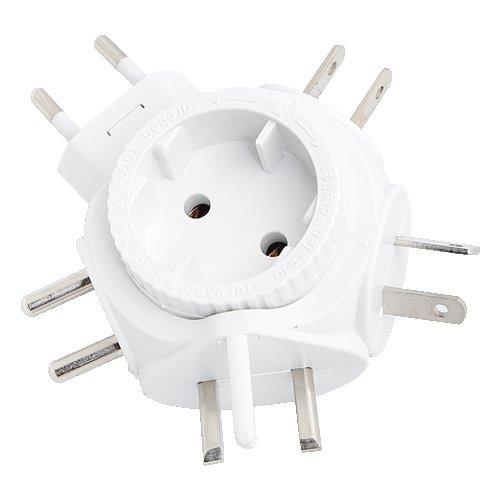 LogiLink PA0054 Reiseadapter Steckdose für Euro Stecker, für viele Länder geeignet (Siehe Beschreibung), 2500W Weiß (Apple-stecker Euro)