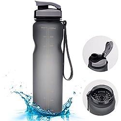 1000ml Sport Trinkflasche - Vsllcau Tritan (BPA FREE) Sportflasche Wasserflasche Auslaufsichere Fahrradflasche Bottle mit Brüste für Outdoor Reise Sport Wanderung Fitness (Grau)
