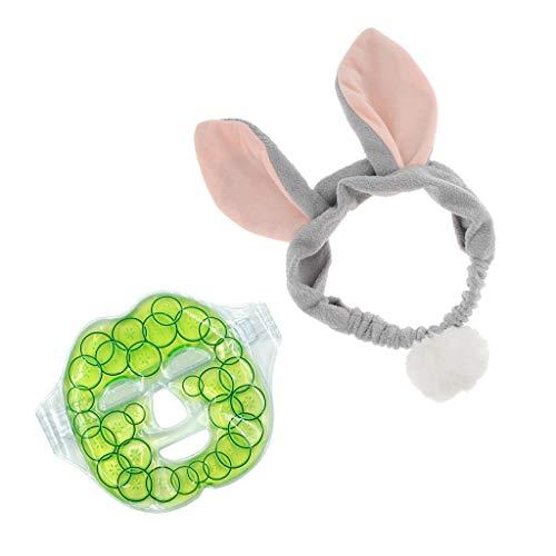 FLAMEER Wiederverwendbare Vollgesichts Augenmaske Gel Heat Cold Pack Microwavable Maske + Hairband - Microwavable Heat Pack