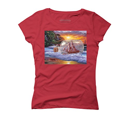 Ship in a Bottle Women's Graphic T-Shirt - Design By Humans Red