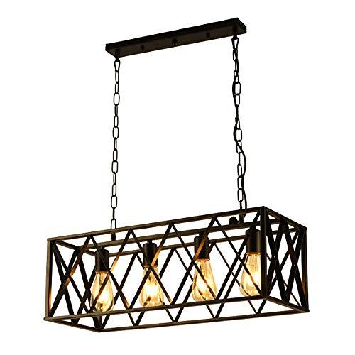 Vintage Kronleuchter 4-Licht Kücheninsel Kronleuchter Beleuchtung Rechteck Rustikale Pendelleuchte Mit Draht Metallkäfig Pendelleuchte -
