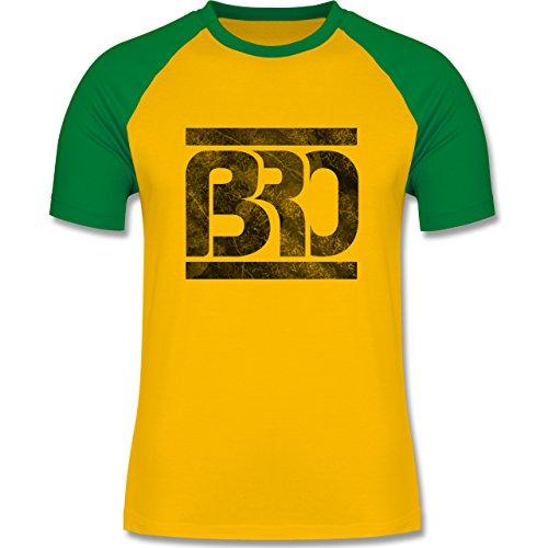 Statement Shirts - BRO - zweifarbiges Baseballshirt für Männer Gelb/Grün