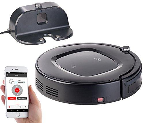 Sichler Haushaltsgeräte Staubsaugroboter: Selbstladender WLAN-Reinigungs-Roboter mit Wischfunktion,...