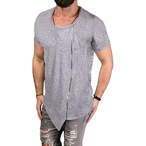 Mens Hipster Irregular Hem Crew Neck Short Sleeve Zip Asymmetrical T-shirt Top (Grey,M)