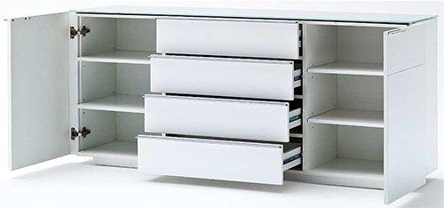 Sideboard in Hochglanz weiß mit Ablagefläche aus weißem Glas, 2 Türen, 4 Einlegeböden und 4 Schubkästen, Maße: B/H/T ca. 165/76/41 cm - 2