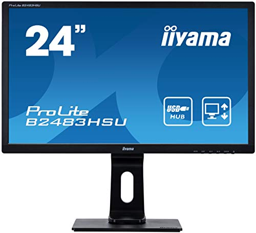 "iiyama Prolite B2483HSU-B1DP LED Display 61 cm (24"") Full HD Plana Mate Negro - Monitor (61 cm (24""), 1920 x 1080 Pixeles, Full HD, LED, 1 ms, Negro)"