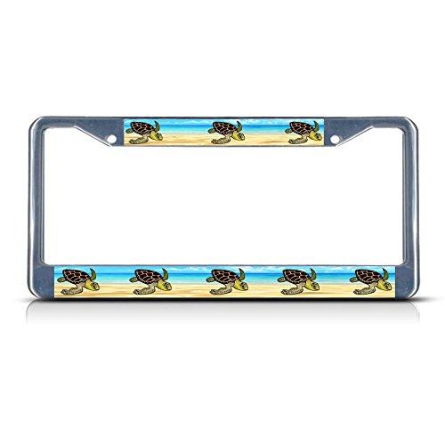 SEA Schildkröten-Metall-Kennzeichenrahmen, 2 Löcher, perfekt für Männer und Frauen, Auto-Garadge Dekor