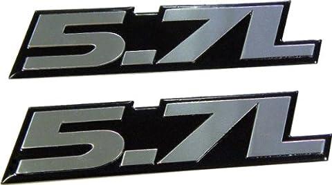 2 x 5.7L SILVER Liter Badge Emblems (pair/set of 2) for Toyota Tundra Sequoia V8 Chevy 350 Tahoe Suburban 1500 Camaro Impala Caprice SS Corvette Z06 LS1 LS6 Dodge Challenger Charger Magnum RT HEMI Ram Durango Cadillac CTS-V CTS Chrysler 300 C300 Pontiac GTO Trans Am LT1 GMC Sierra Yukon XL Pick Up