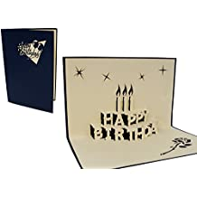 LIN - Pop Up 3D Carte de voeux pour un anniversaire, Gâteau d'anniversaire bleu, (#1)