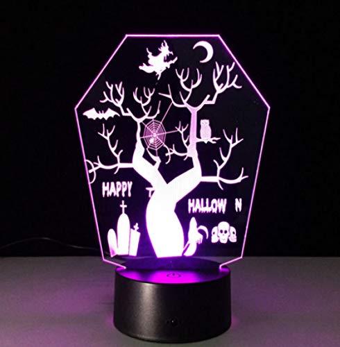 Joplc Allerheiligen 3D LED Nachtsichtlampe USB LED Als Halloween Deko