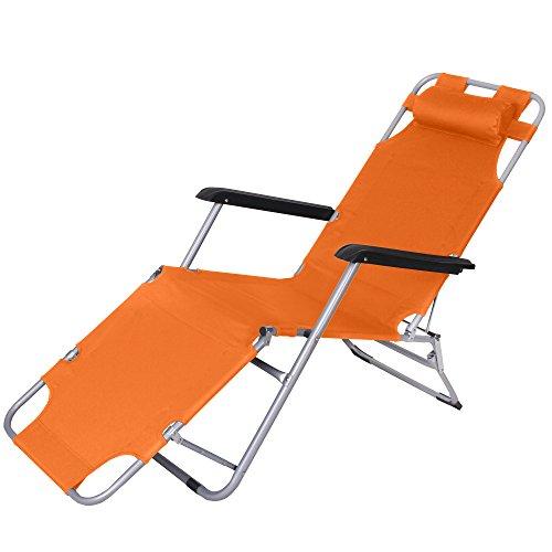 Jalano Gartenliege Liegestuhl Faltbar Kissen Campingstuhl klappbar, Farbe:orange