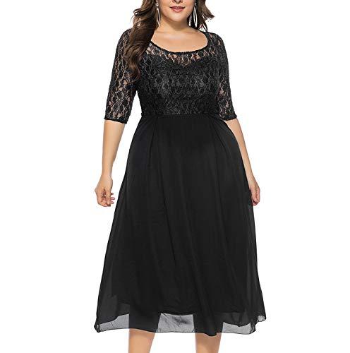 KILOLONE Abendkleid Große Größen Kleider Damen Plus Size Spitzenkleid 3/4 Ärmel Elegantes Cocktailkleid