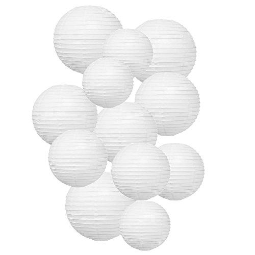 Papierlaterne, 12 Stück weiße Papier Laterne Lampion Schöne Lampenschirme für Hochzeit Geburtstag Gartenparty Dekoration - Weiss Verschiedene Größen