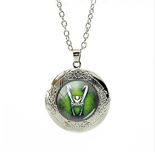 Loki Collar de camafeo, colgante de cristal cabujón declaración cadena collar hombre joyería