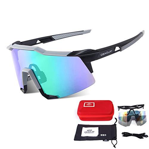Tik Polarisierte Sport-Sonnenbrille, Herren Damen Fahrradbrille zum Radfahren Klettern Angeln Fahren Golf - Exklusives Zubehör und Sicherheitsgurt,5
