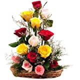 Floralbay Special Basket Arrangement of 15 Mix Roses Fresh Flowers