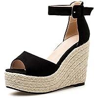 Femmes Pompe 11 cm Talon Compensé Peep Toe Cheville Strap Sandales Roma  Chaussures Doux Pur Couleur afc3f21c07e