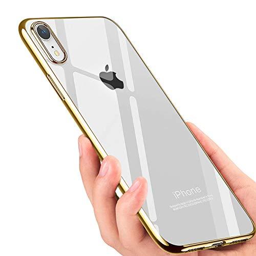 tonitott iPhone XR Handyhülle Crystal Hülle iPhone XR Schutzhülle Ultra Dünn TPU Bumper Case Soft Anti-Scratch Stoßfest Silikon Hülle für iPhone XR Case Cover - Gold