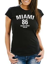 Damen T-Shirt Miami South Beach Break Spring Slim Fit Neverless®