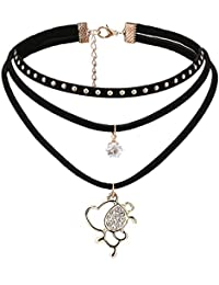 Habors Black & Gold Double Layer Angel & Dot Pendant Choker Necklace For Women(JFND0526)
