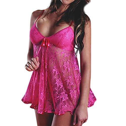 Baby Dolls & Negligees für Damen/Dorical Frauen Sexy Nachtwäsche Spitze Negligee V-Ausschnitt Babydoll Lingerie Öffnen Zurück Nachtwäsche Kleid Dessous mit G-string S-4XL Rabatt(Hotpink,Large)