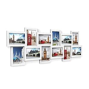 SONGMICS Bilderrahmen Collage für 12 Fotos je 10 x 15 cm Fotorahmen aus MDF-Platten, Montage erforderlich, weiß RPF22W