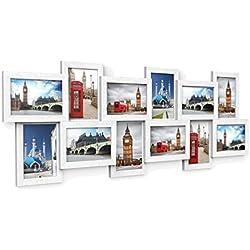 SONGMICS Marcos de Fotos Capacidad de 12 Fotos (10 x 15 cm) MDF Blanco RPF22W