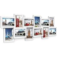 SONGMICS Cadre Photo Pêle-mêle, Mural en MDF Capacité de 12 Photos 10 x 15 cm, Nécessite Assemblage, Blanc RPF22W