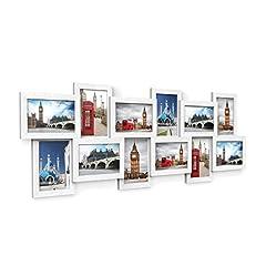 Idea Regalo - SONGMICS Cornice Foto Multipla per 12 Foto, 10 x 15 cm per Ogni Foto, Cornici Foto Collage, da Montare, MDF Bianco RPF22W