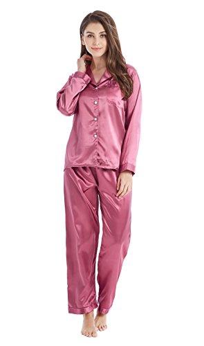 TONY & CANDICE Damen Schlafanzüge Lang Satin Lang Pyjama Set Nachtwäsche (L, Hell Burgund)