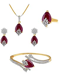 Aabhu American Diamond Ruby Studded Combo Of Pendant Necklace Set With Earrings, Bracelet And Ring Jewellery Combo... - B077K338NW