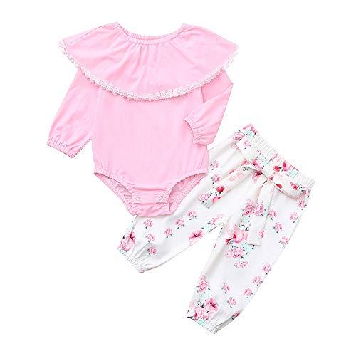 Vêtements Fille,Enfant En Bas âge Bébé Filles Solides Barboteuse à Volants Pantalon à Imprimé Floral Ensemble De Vêtements (18-24 mois, Rose)
