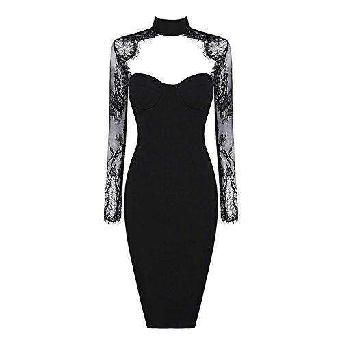 HLBandage Long Sleeve Open Chest Rayon Lace Bandage Dress Nero