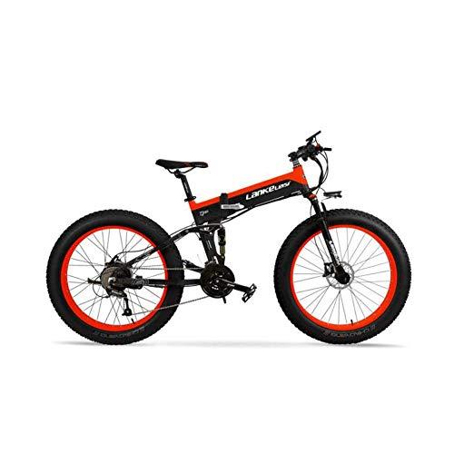 BNMZX Bicicleta eléctrica montaña Ancho neumático 26 Pulgadas Todo Terreno Plegable Nieve eléctrica Bicicleta de montaña 27 Velocidad Asistencia Bicicleta...