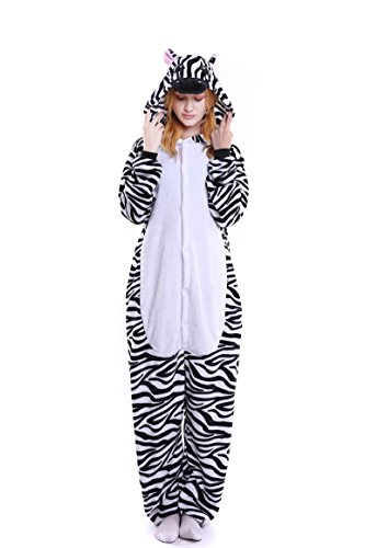 Imagen de tuopuda kigurumi pijamas unisexo adulto traje disfraz adulto animal pyjamas cosplay animales de vestuario ropa de dormir halloween y navidad m  158 167 cm height , cebra en blanco y negro
