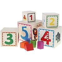 Stapelwürfel Holz ABC Tiere Zahlen Steckwürfel Stapelspiel Baby Kleinkind Holzspielzeug Motorikspielzeug