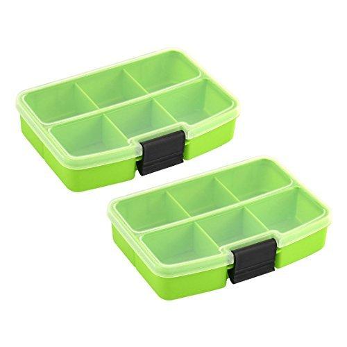 DealMux plastique Desktop Rectangle 6 compartiments de rangement boîte de l'organisateur 2pcs vert