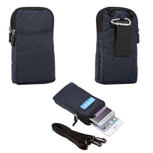 JBTec® Universal Gürteltasche / Handytasche Nylon Einfarbig #G38 165x90x30mm - Schutz-Hülle, Case, Etui, Gürtel-Schlaufe, Farbe:Navy-Blau