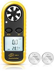 HusDow Anemómetro Termómetro Digital de Pantalla LCD Medidor de Velocidad Viento Aire con Luz de Fondo para Vela, Cometa, Surf, Marina, Pescar, etc